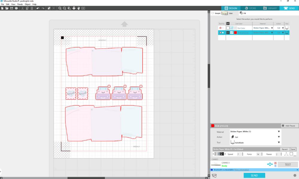 silhouette studio screenshot of kisscut settings and cut lines