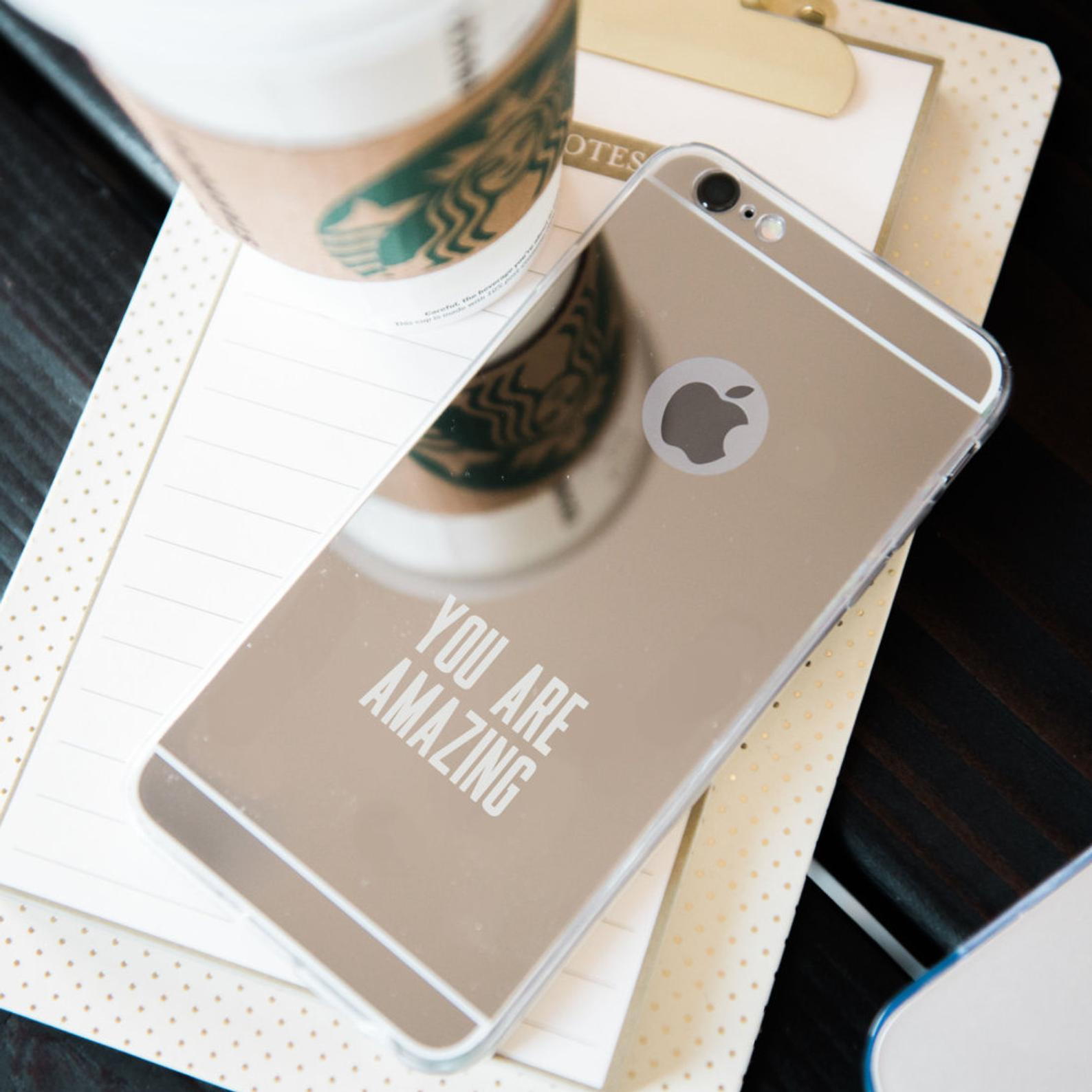 inspirational phone case, motivational phone case, gold mirror phone case, self care gift guide