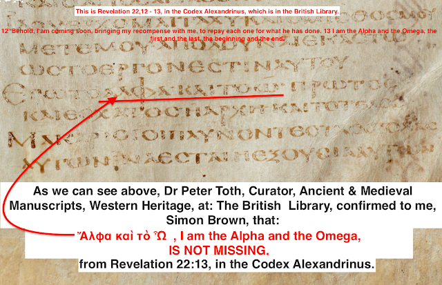 Is the Title of GOD:  The Alpha and the Omega, in Revelation 22,13, missing from the Codex Alexandrinus?