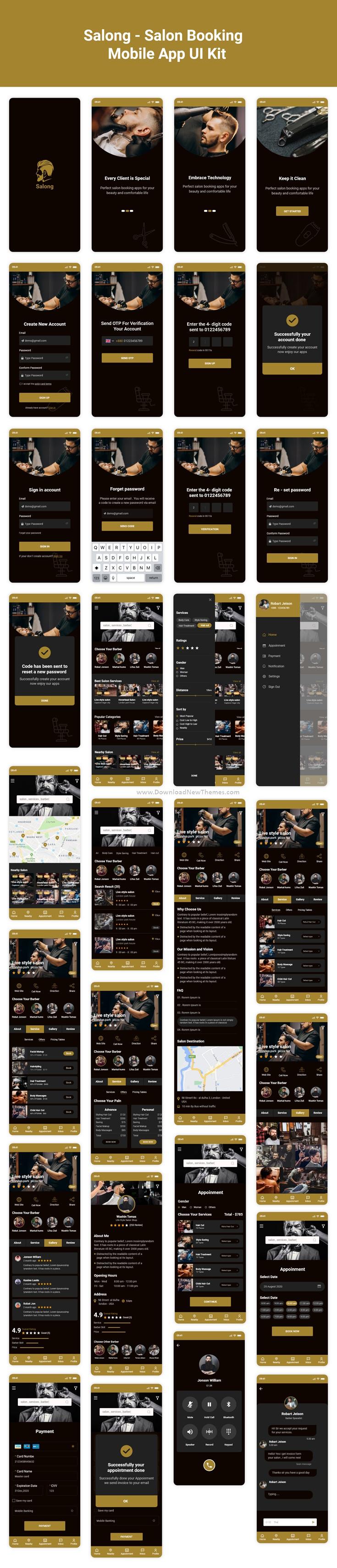 Salon Booking Mobile App UI Kit