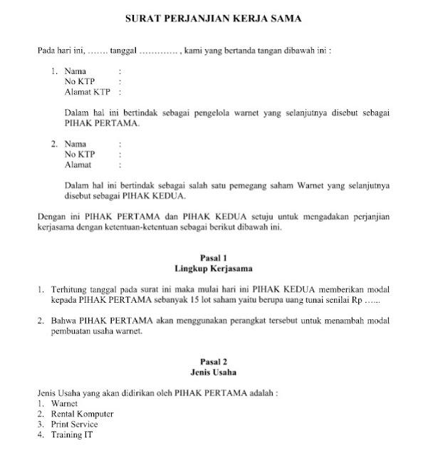 Download Contoh Surat Perjanjian Kerja Sama Lengkap, Resmi dan Memenuhi Persyaratan Format Word