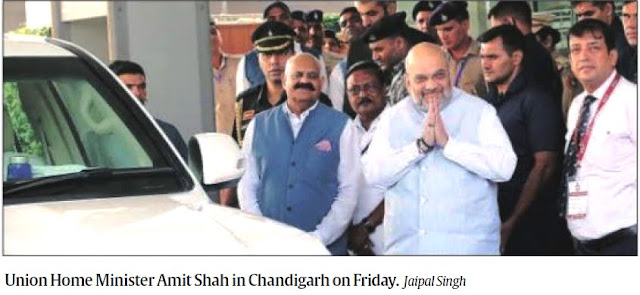 Union Home Minister Amit Shah in Chandigarh on Friday, alongwith Governor of Punjab Sh. V P Singh Badnore, Additional Solicitor General Satya Pal Jain & others