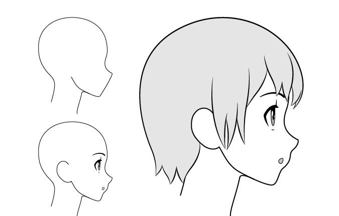 Gadis anime bingung gambar tampilan samping