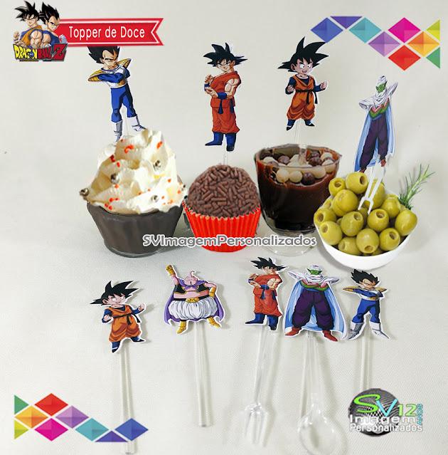 Dragon Ball Z dicas e ideias para decoração de festa personalizados tag para doces