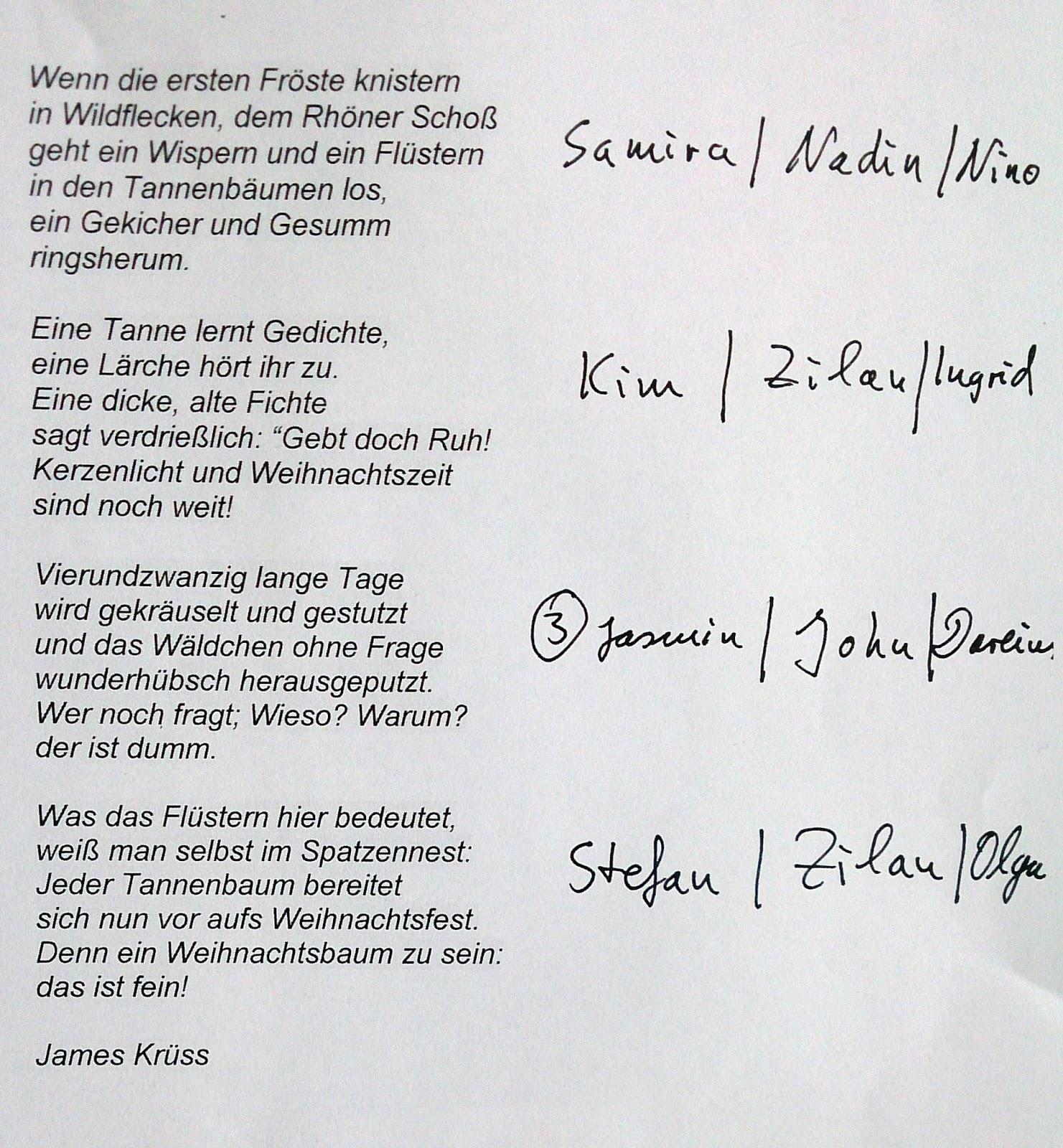 Tannenbaum Gedicht.Hausaufgaben Raab Klasse 6 Mittelschule Wildflecken 2018 2019