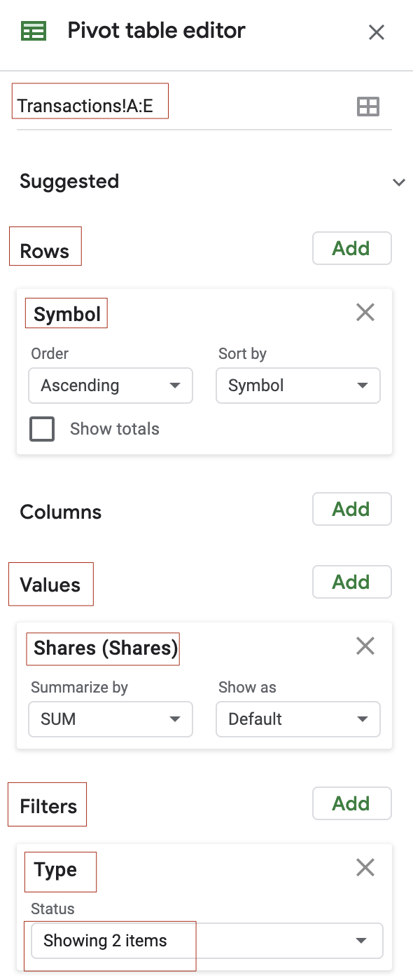 Pivot table editor - count the number of shares for each symbol that appeared in transactions