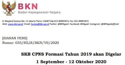[SIARAN PERS] SKB CPNS Formasi Tahun 2019 akan Digelar 1 September - 12 Oktober 2020