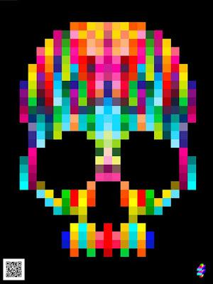 Ilustración de calavera con pixeles de colores