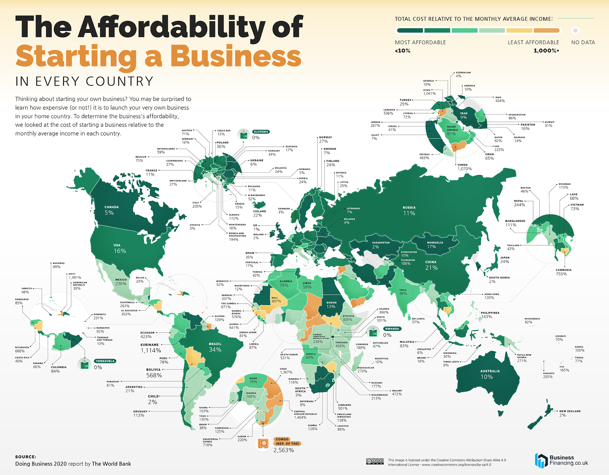 The most (and least) expensive countries for entrepreneurs to start a business (Study)