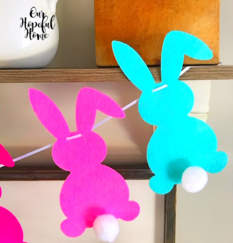 pink felt bunny blue felt bunny garland Easter decor cotton tail pom pom