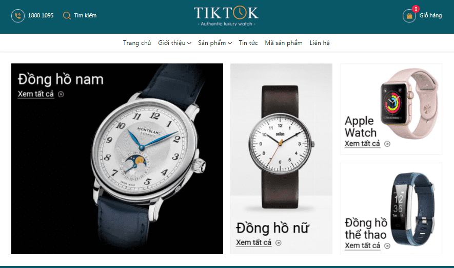 Giao diện blog bán đồng hồ tiếp thị liên kết Accesstrade