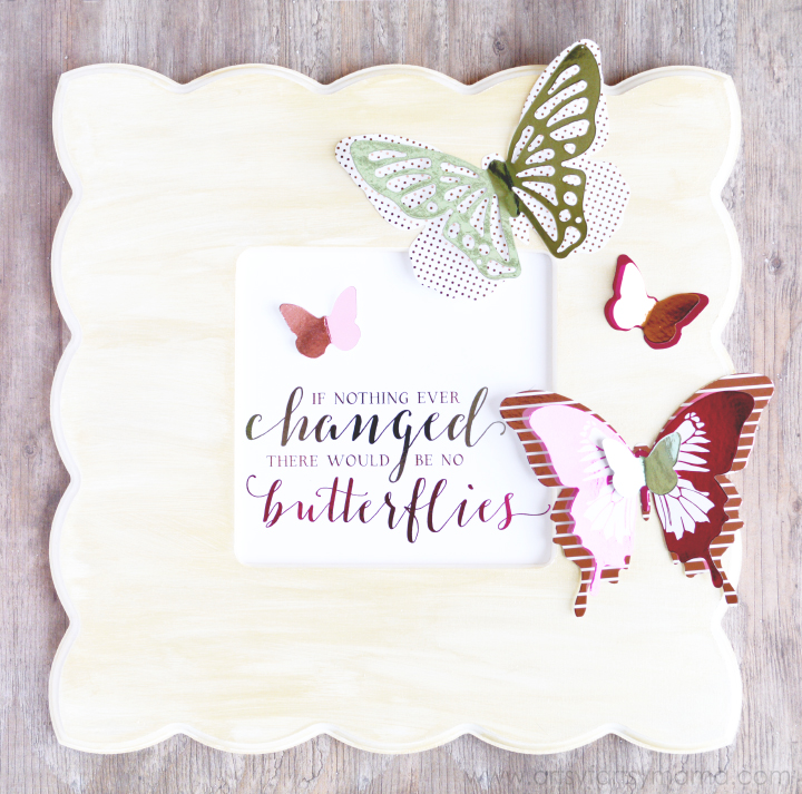 Foil Butterfly Wall Art Tutorial at artsyfartsymama.com #HSMinc