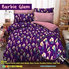 Sprei Custom Katun Lokal Anak Barbie Glam Kartun Karakter Pattern Ungu Pink