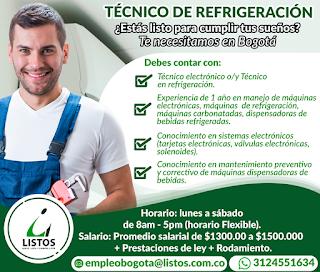 Empleo como Tecnico de Refrigeracion en Bogota