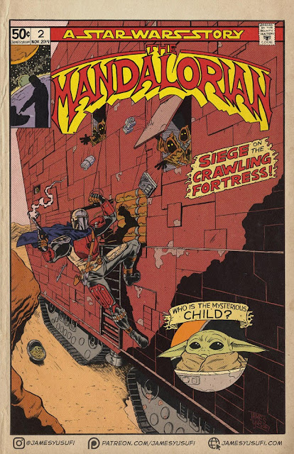 fan art comic book cover mandalorian