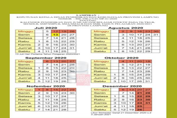 Anda Mencari Kalender Pendidikan Provinsi Lampung Tahun Pelajaran 2020-2021? Kaldik Lampung Tapel 2020/2021 bisa didownload dengan mudah disini