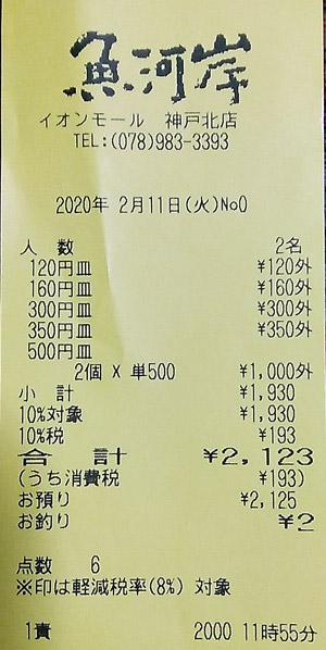 魚河岸 イオンモール神戸北店 2020/2/11 飲食のレシート