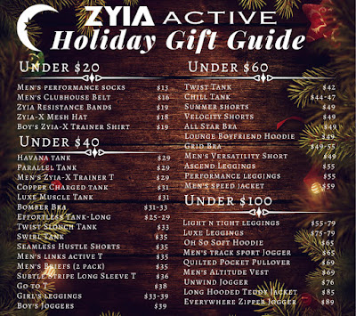 Zyia Active Holiday Gift ideas by price