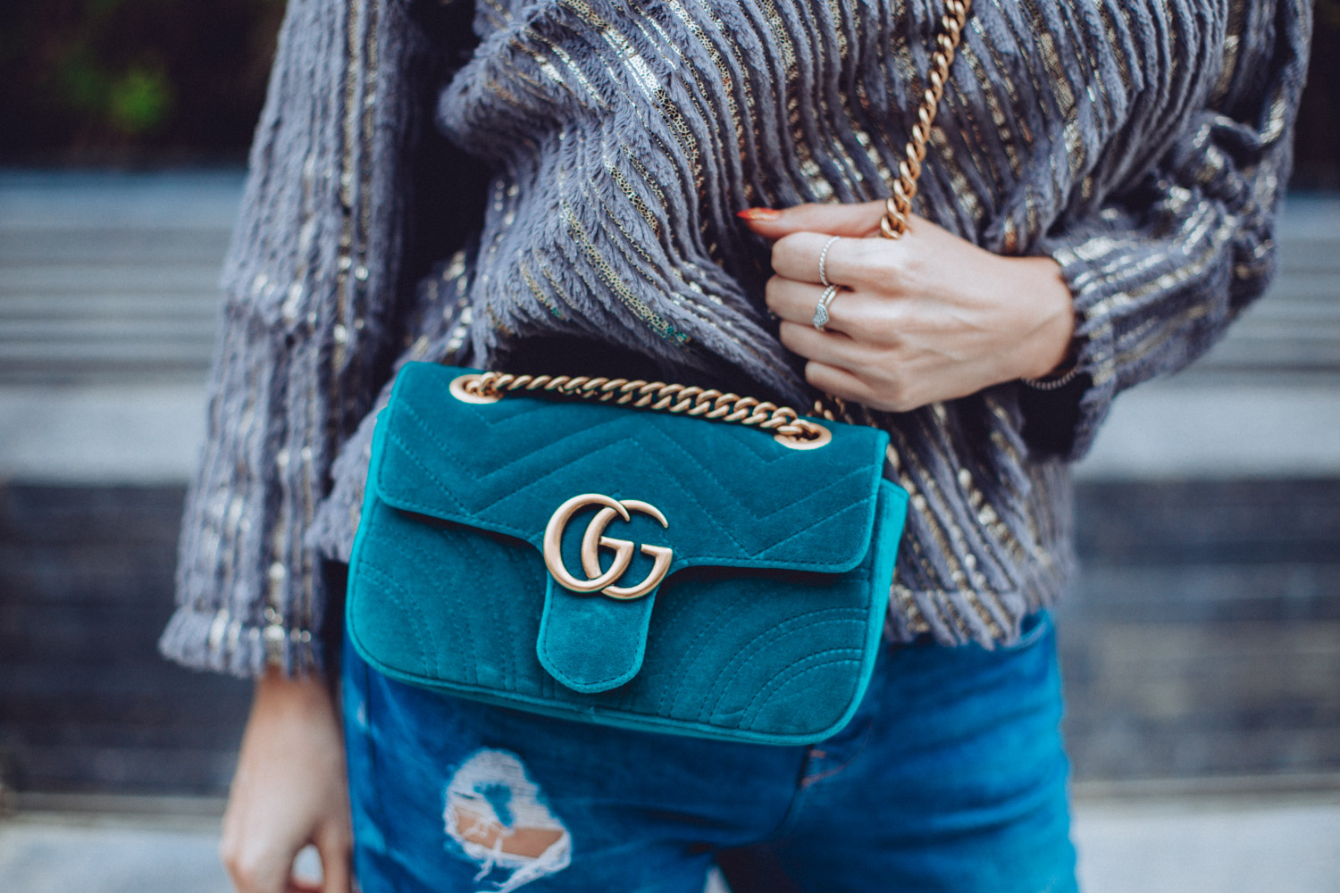 Gucci GG Marmont Velvet bag in petrol blue chevron