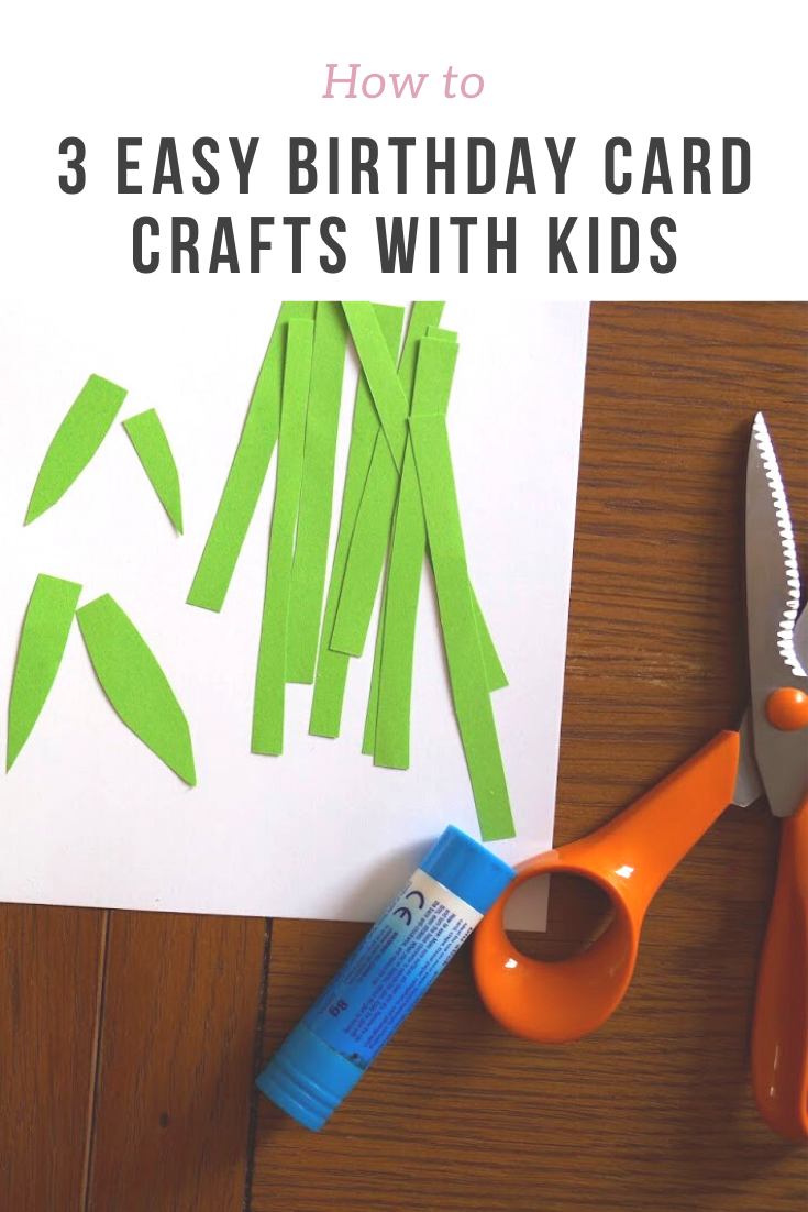Three very easy cards to craft with kids - all you need is card, coloured paper, glue and scissors! Picture-based tutorial.