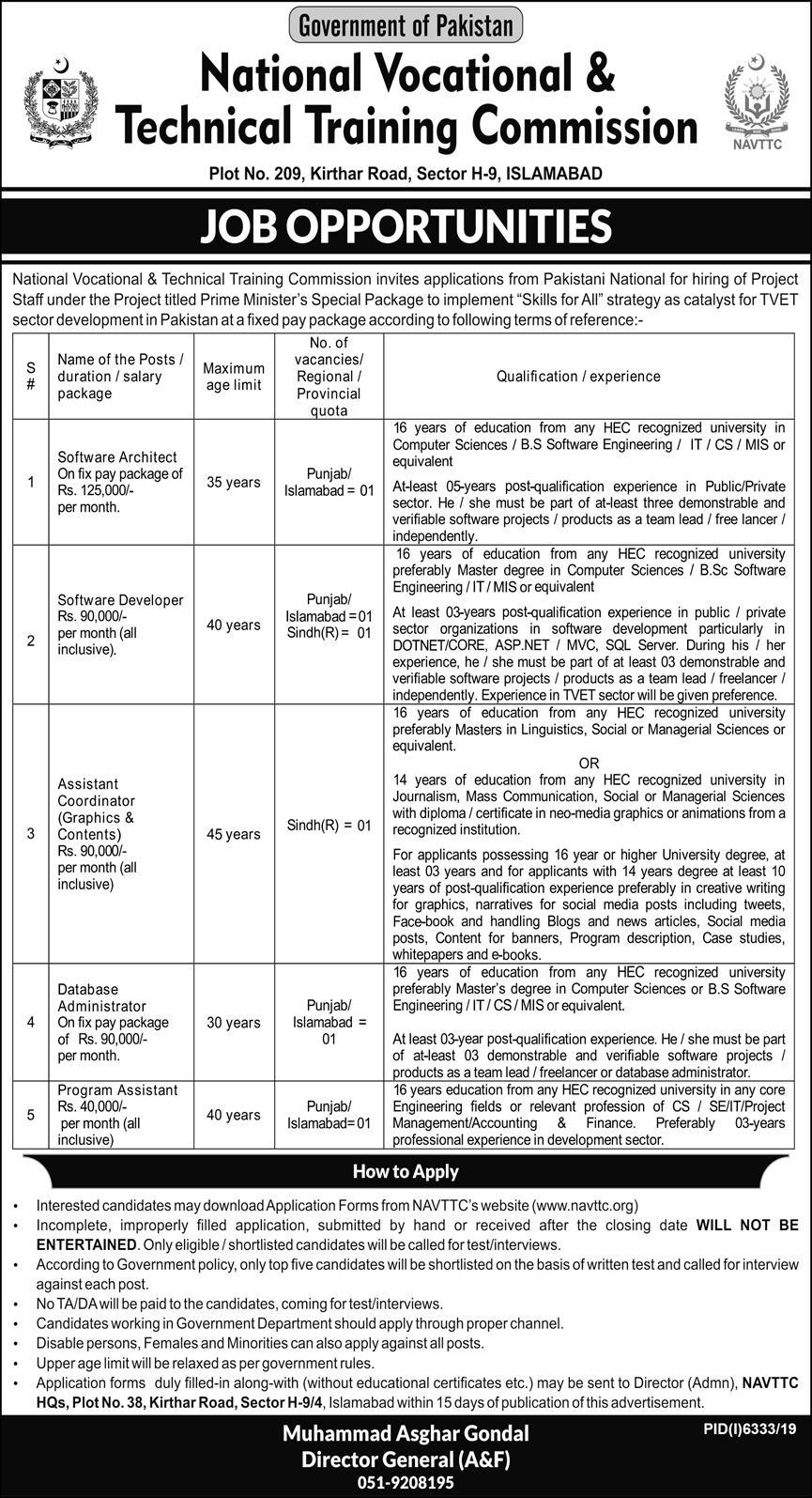 National Vocational & Technical Training Commission Islamabad Jobs