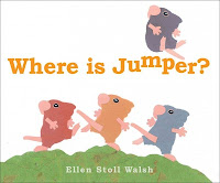 Cover of Where is Jumper? with 1 mouse on top and 3 mice running over hill at the bottom
