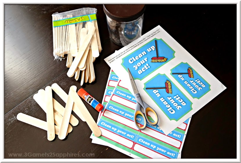 DIY Clean Up Your Act punishment jar how-to with free printables | www.3Garnets2Sapphires.com