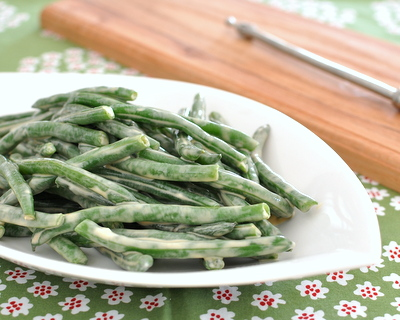 Green Beans with Mayo-Soy Sauce, so simple, so tasty @ AVeggieVenture.com. Low Carb, just Weight Watchers PointsPlus 1.