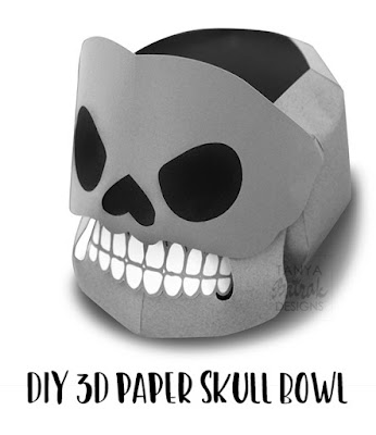 DIY 3D paper skull candy bowl