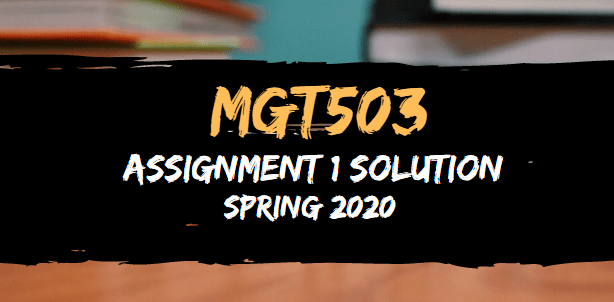 MGT503 Assignment 1 Solution Spring2020