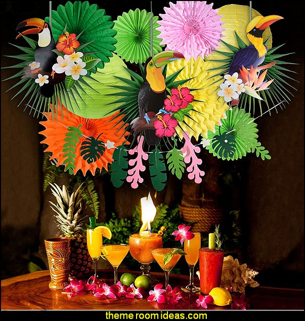 Tropical Bird Toucan Leave Garland Party kit to Summer Hawaiian Luau Tiki Tropical Themed Party