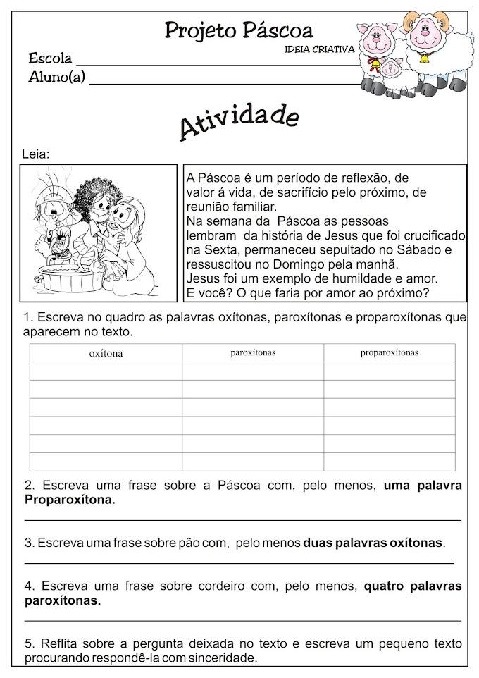 Atividade Projeto Páscoa / Tonicidade 4º e 5º Ano