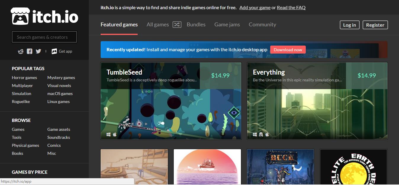 itch.io 值得挖寶的免費獨立遊戲下載網站,好遊戲讓你自由定價