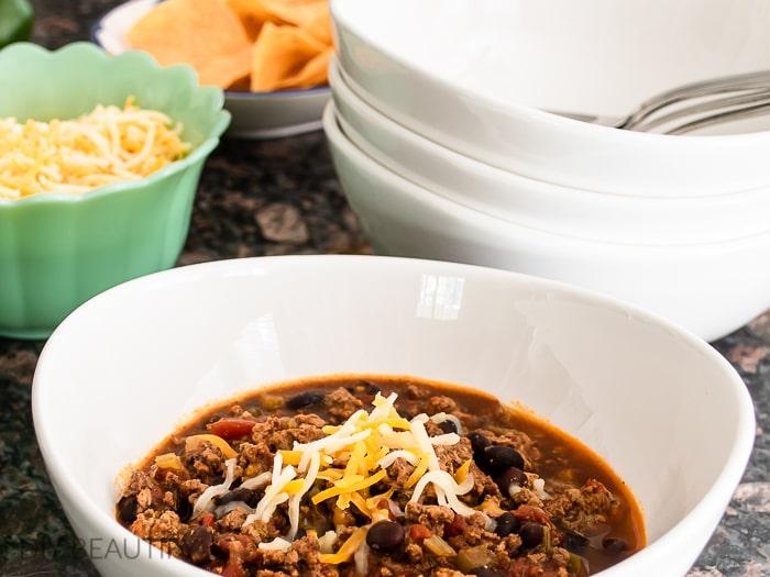 bowl of homemade chili