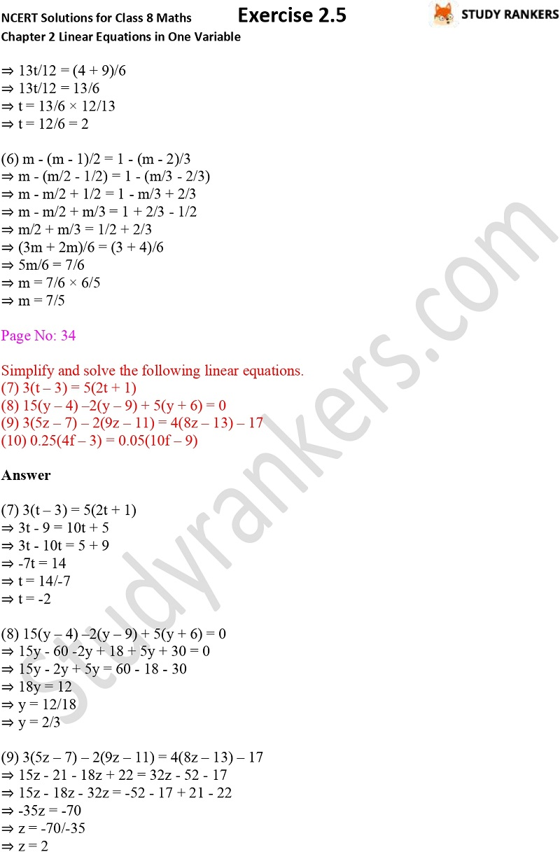 NCERT Solutions for Class 8 Maths Chapter 2 Linear Equations in One Variable Exercise 2.5 Part 2