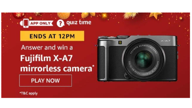 Amazon Quiz Answers Today 21 January win - Fujifilm X-A7 mirrorless camera