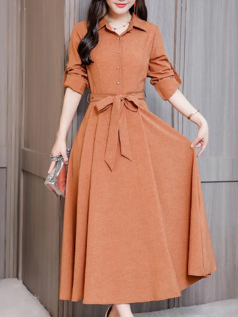 Fold-Over Collar Single Breasted Plain Maxi Dress Orange