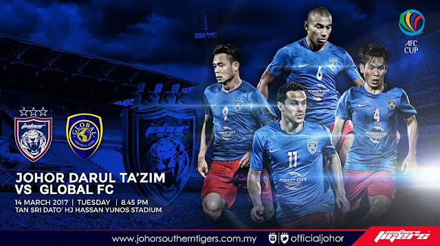 Live Streaming JDT vs Global FC 14 Mac 2017 AFC Cup