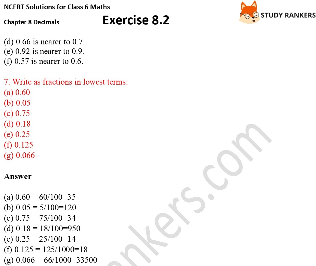 NCERT Solutions for Class 6 Maths Chapter 8 Decimals Exercise 8.2 Part 4