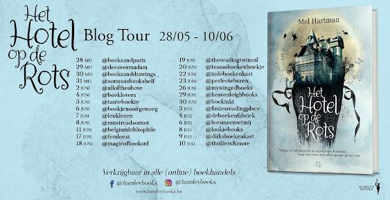 Lijst van deelnemende bloggers voor het boek Het hotel op de rots geschreven door Mel Hartman en uitgegeven bij Hamley Books