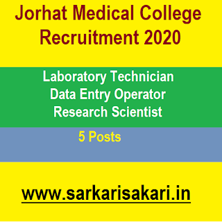 Jorhat Medical College Recruitment 2020- Lab Technician/ data Entry Operator/ Research Scientist
