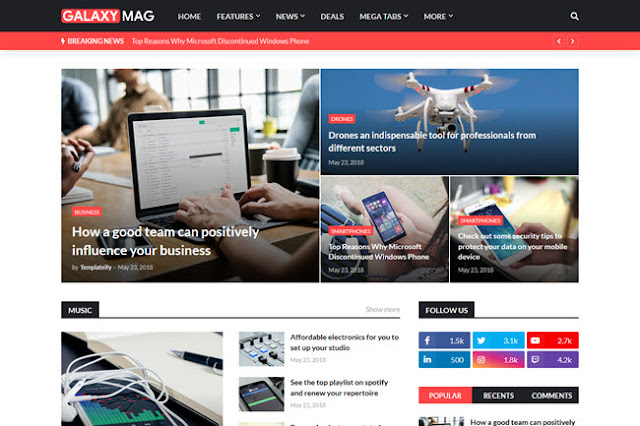 Responsive News & Magazine Blogger Template Free Download Template