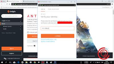 Berikutnya silakan kalian cek email dan masukan kode verifikasi email Originnya, lalu klik Continue