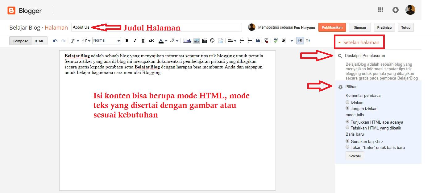 Membuat Konten Halaman Statis di Dasbor Editor Blogger