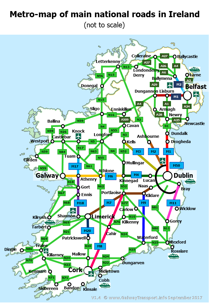 Map Of Ireland Ireland.Galwaytransport Info National Roads In Ireland Simplified Map