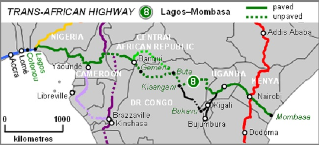 Trans-Africa Highway Map by Rexparry Sydney