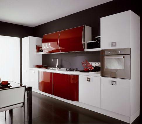 Cocinas modernas color rojo italianas colores en casa - Paredes de cocinas modernas ...
