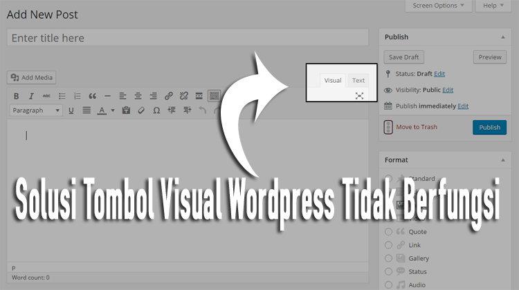 Solusi Tombol Visual Wordpress Tidak Berfungsi