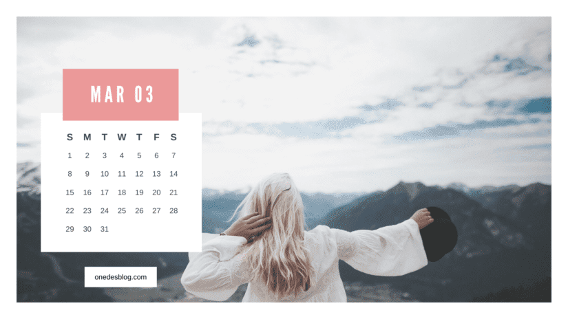 Calendario femenino maro 2020