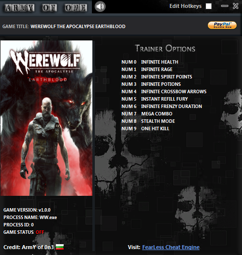 Werewolf: The Apocalypse - Earthblood: Trainer (+10) [1.0]